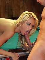 Lexi sucking hard cock and getting fucked on top of a pool table