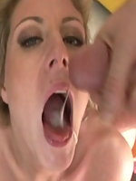 Velicity Von on her knees sucking many cocks