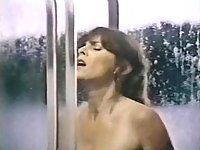 Kay Parker enjoys her shower right after she gets fucked on the bed,