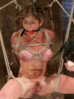 Felony flexible busty milf is bound made to squirt
