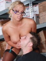 Blonde Cougar bosses young hung stud to fuck her