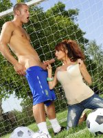 Sexy big tits milf sucks well hung guy outdoors