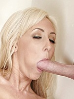 Blonde Jessica Lynn sucking huge cock at gloryhole