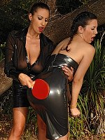 Sensual Jane lezdom in latex spanks bound girl Jelena Jensen
