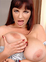 Joanna Bliss strips and caresses huge melons
