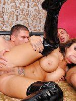 Pornstar in boots Mason Moore gets penetrated by two cocks