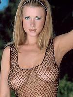 Sydney Moon busty blonde wears fishnets