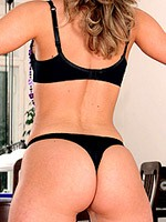 Silvie Thomas strips lingerie and shows butts