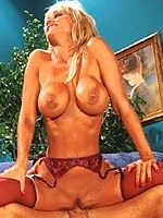 Crystal Gold stocking blonde rides big cock