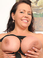 Angelica Sin bigboobs mom in black pantyhose strips